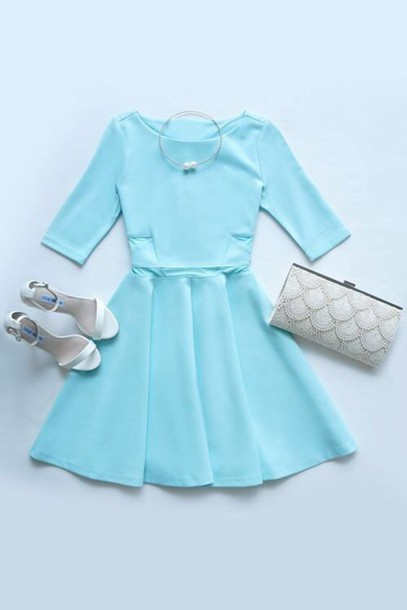 dress blue purse heels summer dress summer outfits