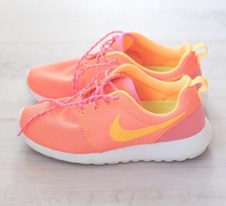 shoes nike nike roshe run run coral orange bright sneakers runners neon roshe runs