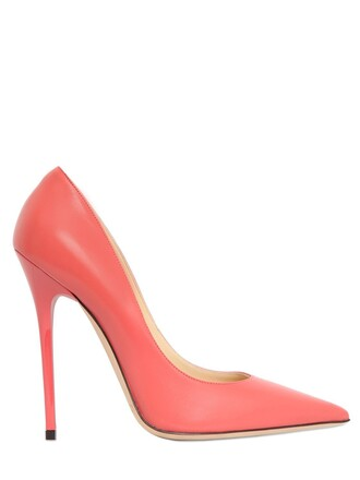 pumps leather coral shoes