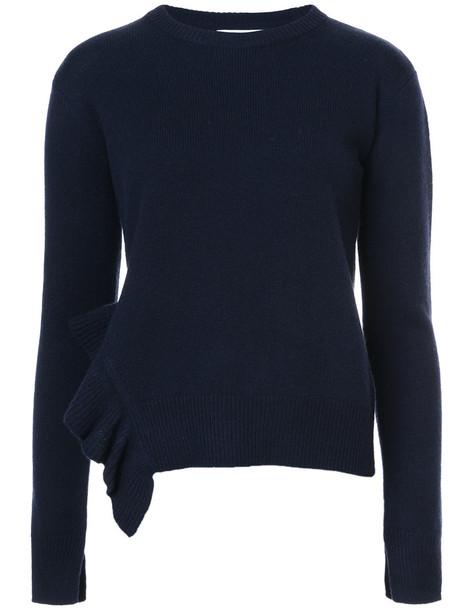 DEREK LAM 10 CROSBY sweater asymmetrical ruffle women black wool