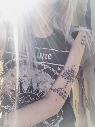 shirt top black drawing sun moon moon and sun eye evil eye indie hippie universe stars quote on it nature