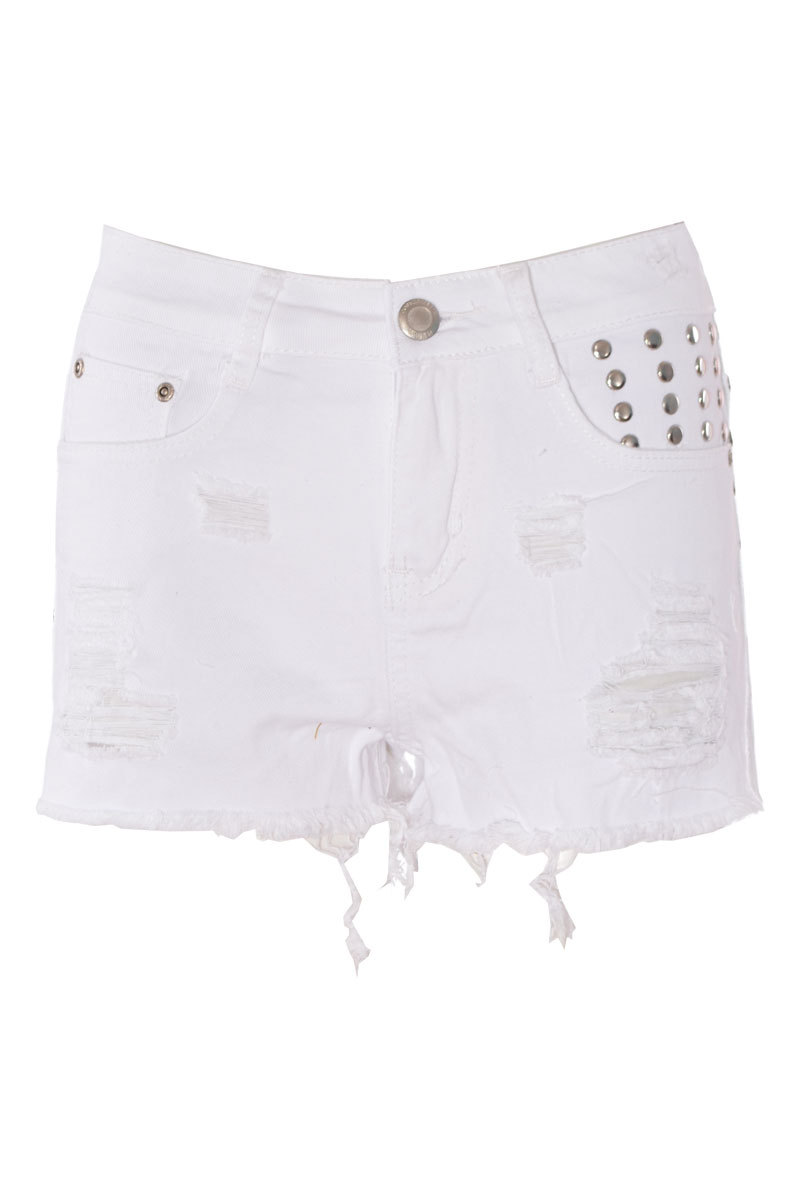 Farica Studded Frays & Rips Short