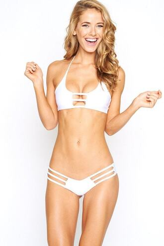 swimwear bikini bottoms cheeky cute outfits montce swim ruched bikini white bikiniluxe
