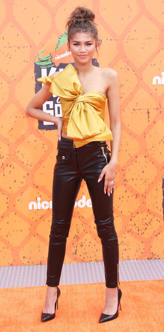 top pants leather pants pumps zendaya tie-front top bow crop tops crop bow top yellow top