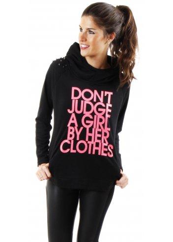 Black Fleece Top | Don't Judge A Girl Top | Designer Black Fleece