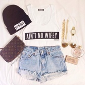 hat,bag,shirt,shorts,white,ain't no wifey,no sleeves