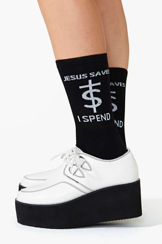 Unif jesus saves socks  in  trends come as you are at nasty gal