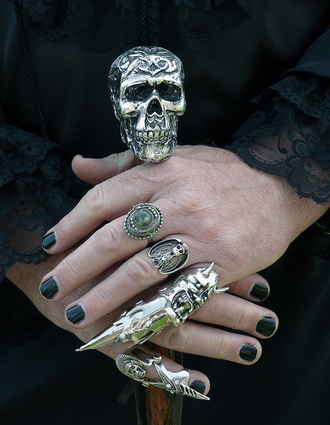 jewels silver ring skull armor ring
