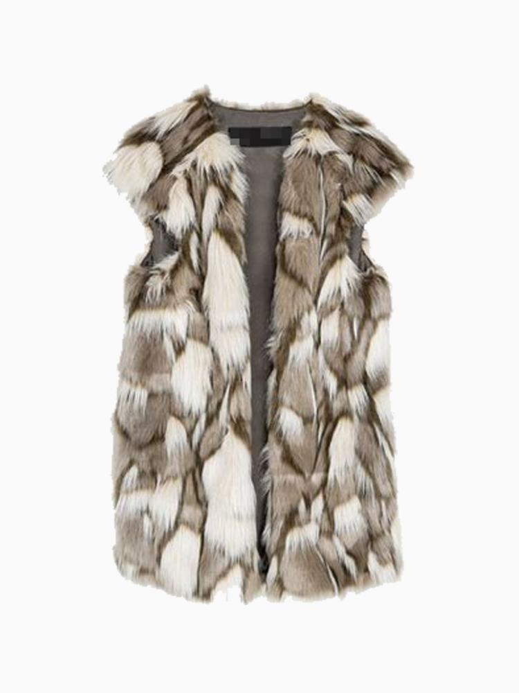 Fur vintage style long waistcoat