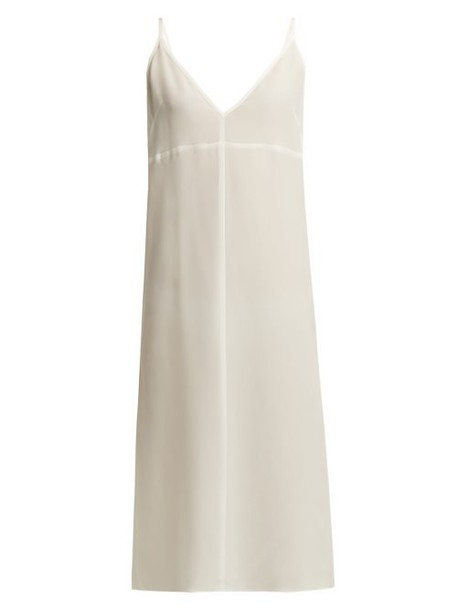 Raey - Fitted Deep V Neck Silk Slip Dress - Womens - Ivory
