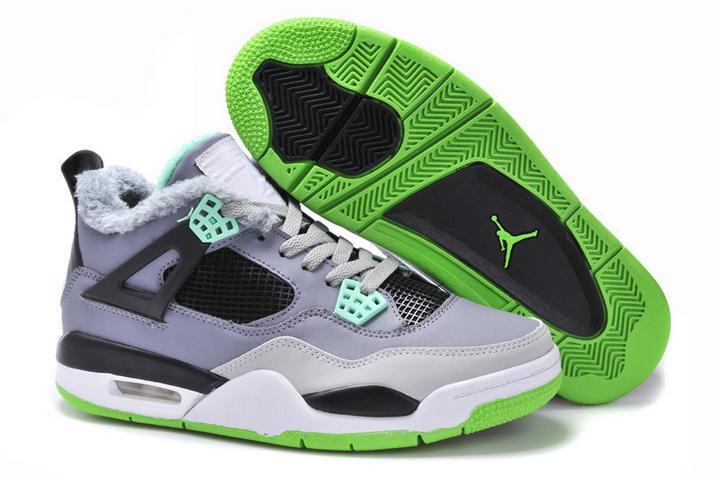 Air Jordan 4 Retro Men Woolen Blanket Grey Black Green - Jordan 11