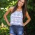 Blue and White Oriental Print Crop Top | Ellie Clothing