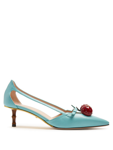gucci cherry embellished pumps leather light blue light blue shoes