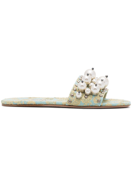 women pearl slippers leather shoes