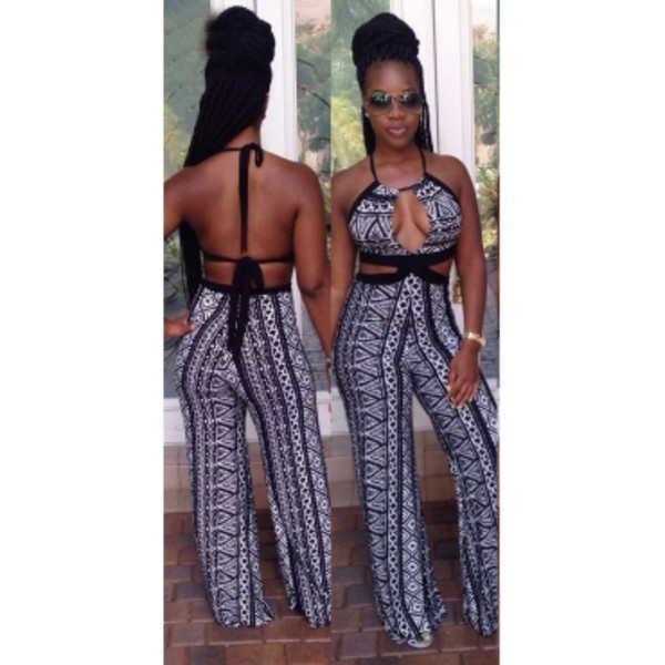 black and white jumpsuit pinkdaggershoes tribal pattern hot new ootd musthave