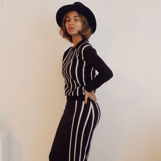 bob beyonce outfit celebrity style fashion stripes