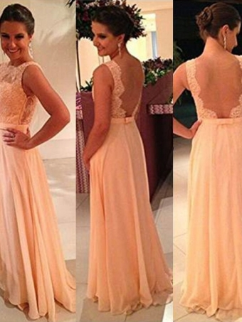 A-line halter round neckline Long Lace Prom Dresses, Evening Dresses [B0083] - $169.99 : 24inshop