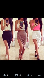skirt,tank top,shoes,shirt,side split skirt,colorful,draped skirt,drapey,high low skirt,white,black,beige,long skirt,sexy,pink tank top,pink cropped top,white corset,white crop tops,slit skirt,black slit skirt,brown slit skirt,white slit skirt,black high heels,white high heels,summer,white sandals,black sandals,asymmetrical skirt,pink,offset,side slit,blouse,dress,beige skirt,wrap skirt,top,brallete top,long,skirt cute,crop tops,asymmetrical,do not mind the colour just like the style,high waisted half and half skirt,fashion,white skirt,black skirt,style,maxi skirt,midi skirt,bustier,slit maxi skirt,brown