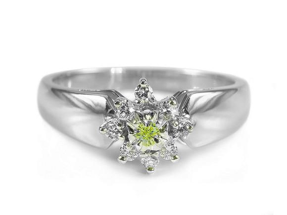 jewels ring gold diamonds pierścionek green diamond impressimo