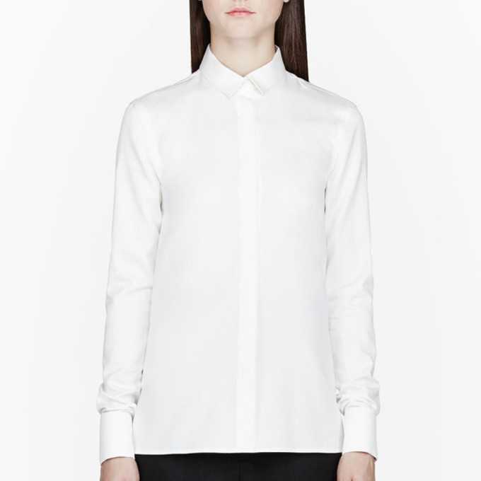 White Shirt Blouse Ivory French Clothes Women Dress Cuff