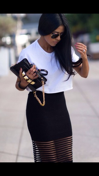 skirt mesh black skirt long bag