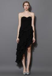 dress,asymmetrical,tiered,ruffle,bustier,black