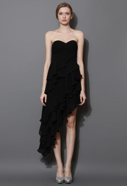 dress asymmetrical tiered ruffle bustier black