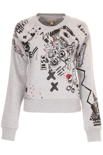 sweatshirt print pale grey sweater