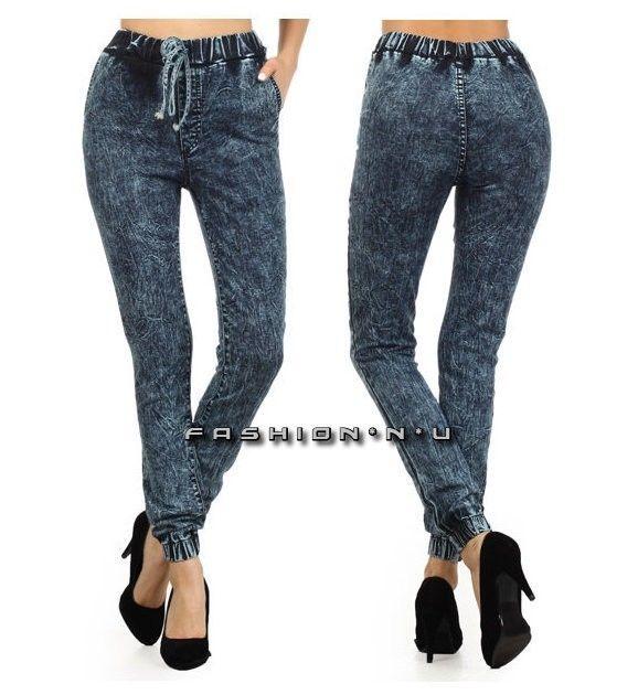Acid wash high waist drawstring pocket slim dark blue denim joggers jeans pants