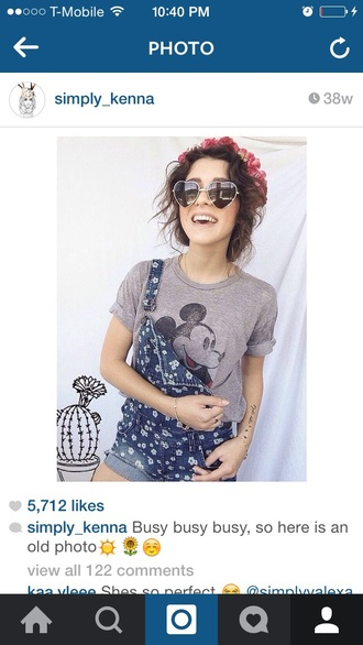 t-shirt floral crown mickey mouse shirt overalls