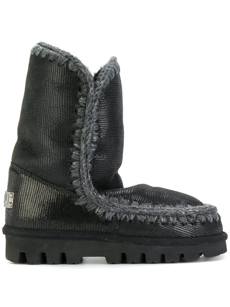 Mou women boots winter boots leather black shoes