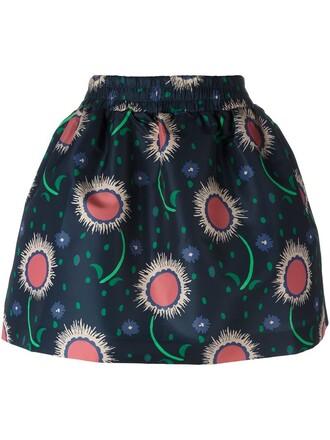 skirt floral print blue