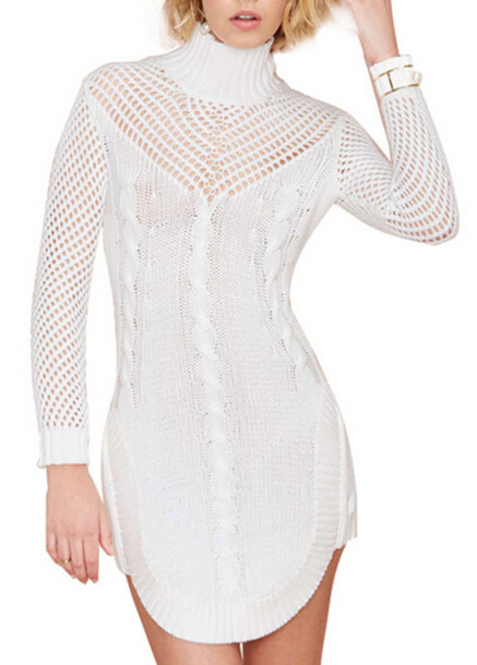 dress sweater dress zaful white white lace dress knitted dress knitwear bodycon bodycon dress nastygal