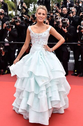 dress gown cannes blake lively red carpet dress red carpet prom dress wedding dress ruffle