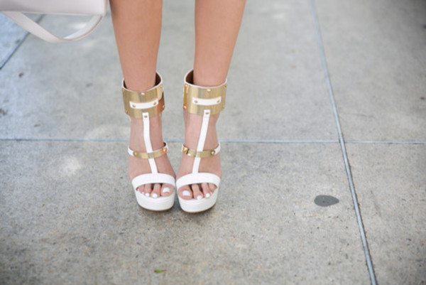 shoes white high heels gold fashion streetwear