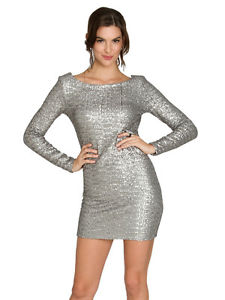 Arden B Sequin Open Back Dress Charcoal Silver Pewter Dress Medium M | eBay