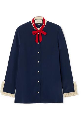 blouse bow navy silk top