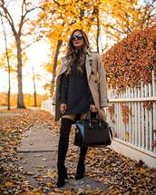 dress,knitted dress,sweater dress,mini dress,turtleneck dress,thigh high boots,suede boots,black boots,handbag,sunglasses,coat,trench coat