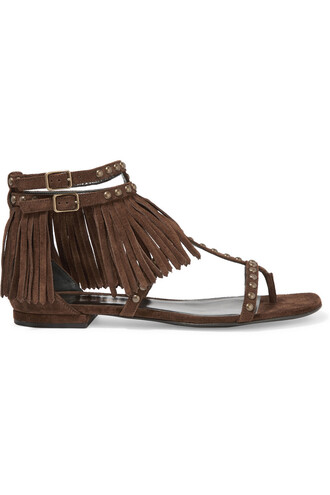 studded sandals suede dark brown shoes