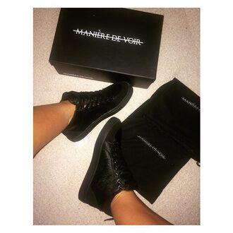 shoes maniere de voir sneakers trainer pony snake embossed mid top black