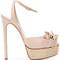 Casadei - fringed strap platform sandals - women - leather/kid leather - 36.5, nude/neutrals, leather/kid leather