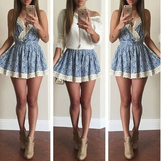 dress jewels short t-shirt shoes blue white lace short romper blue lace pretty floral sexy boots white crochet top skirt clothes cute dress summer dress beautiful fashion girly outfit sammydress