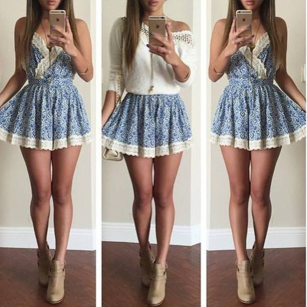 dress jewels short t-shirt shoes blue white lace short romper blue lace pretty floral sexy boots romper white crochet top skirt clothes cute dress summer dress beautiful fashion girly outfit sammydress blue dress mini dress skater dress