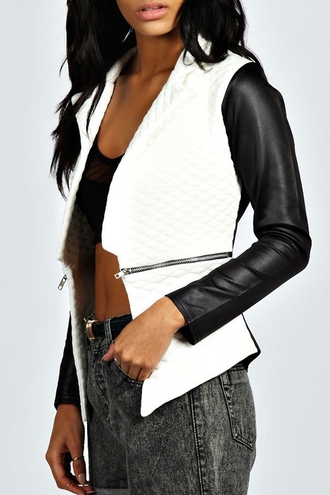 jacket black and white leather acid wash zip hot biker jacket leather sleeves mesh classy women fashion zaful style