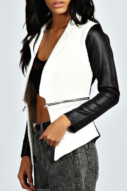 Jacket Black And White Leather Acid Wash Zip Hot Biker Jacket