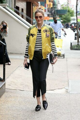 jacket bomber jacket pants olivia palermo streetstyle spring outfits blogger shoes