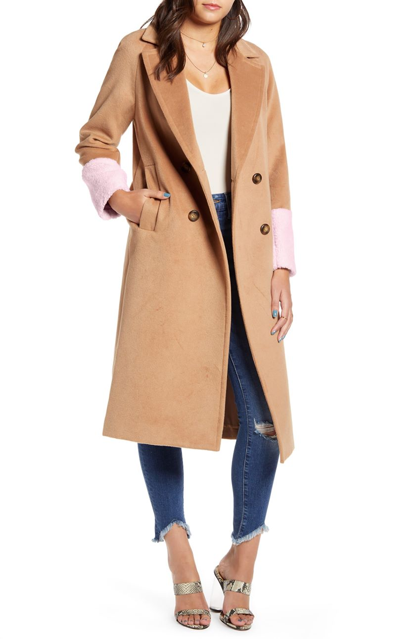 Mural Colorblock Double Breasted Coat