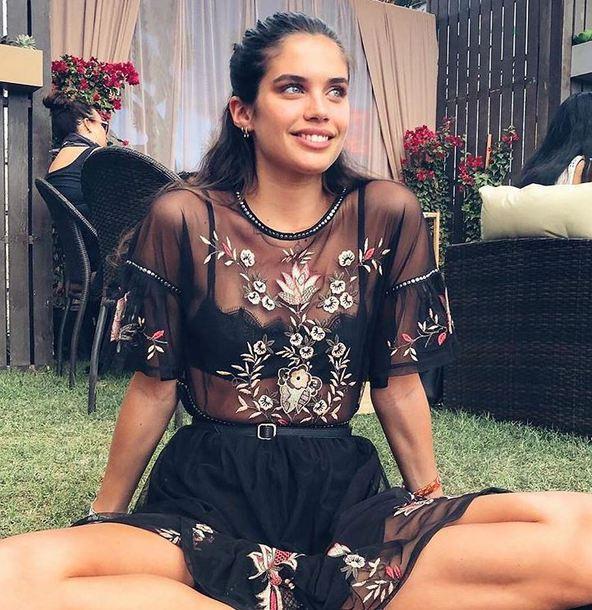 underwear bra bralette sara sampaio model off-duty dress see through see through dress coachella instagram festival music festival