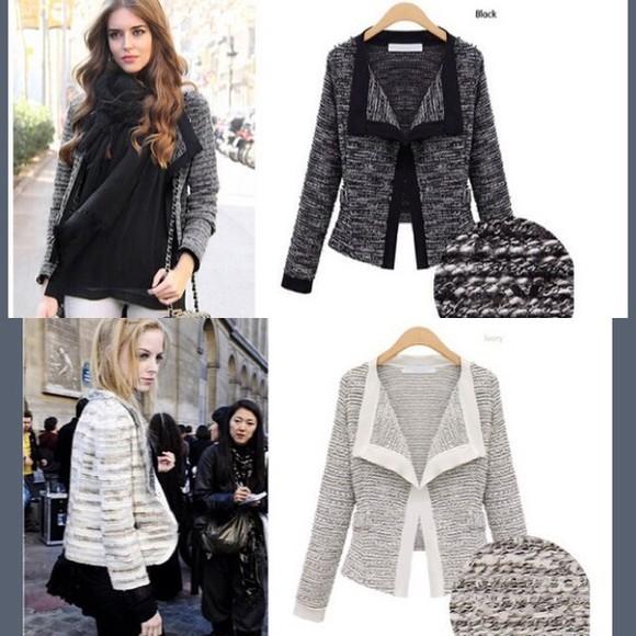 jacket blazer wool jacket black white grey fall jacket