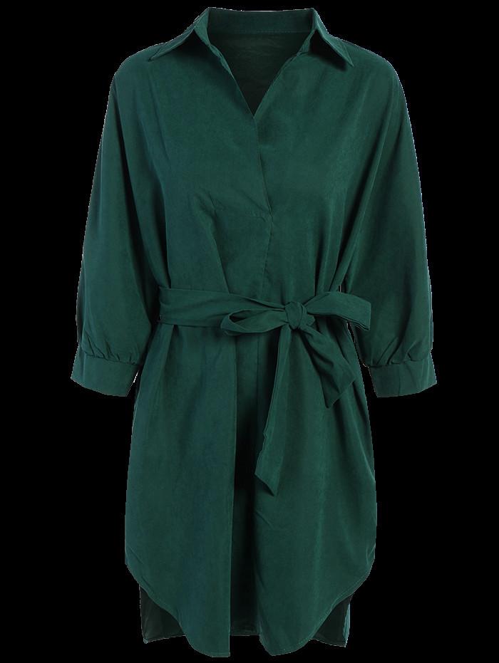 Zaful Tie Belt Midi Shirt Dress in green